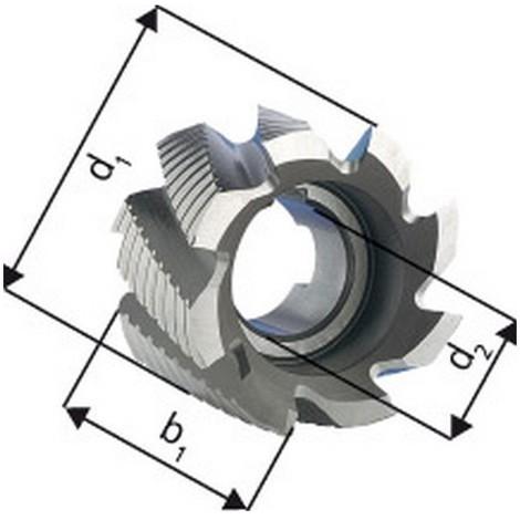 Fraise cylindrique en bout, type NF, en acier à coupe rapide à 5% de cobalt, sans revêtement, Ø x Larg. : d1 - js14 x b1 - k16 : 50 x 36 mm