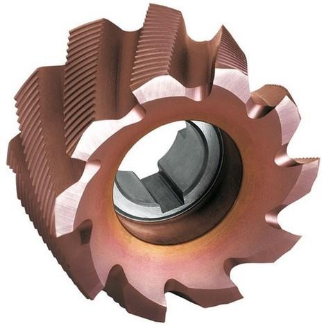 Fraise cylindrique en bout, Type NR, en acier à coupe rapide à 8% de cobalt, revêtement TiCN°, Ø x Larg. : d1 - js14 x b - k16 : 50 x 36 mm
