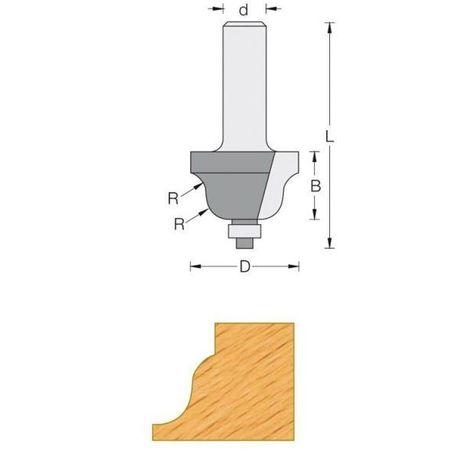 Fraise de défonceuse Q6 - Moulure décorative Ø 38.1 - R6.4