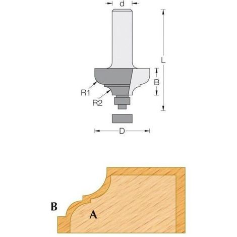 Fraise de défonceuse Q8 - Moulure décorative Ø 28.7 - R4