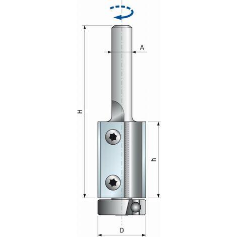 Fraise droite à plaquettes interchangeables à roulement FREUD - Ø19 H30/90 Q12 Z2 - F03FA13926 -TG74MD CF3