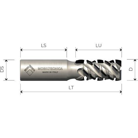 FRAISE HÉLICOÏDALE EN DIAMANT Z2+2 ANGLE AXIAL 45° CORPS EN ACIER PCD H4, 5 mm - MOBILTECNICA
