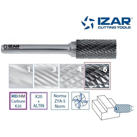 Fraise lime rotative carbure ZYA-S cylindrique Izar (6 x 6 mm)