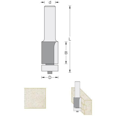Fraise pour affleurer Ø12,7 hauteur 25 mm pour défonceuse 8 mm
