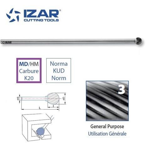 fraise rotative carbure longue Izar spherique KUD denture 3 de 8 à 12.7 mm