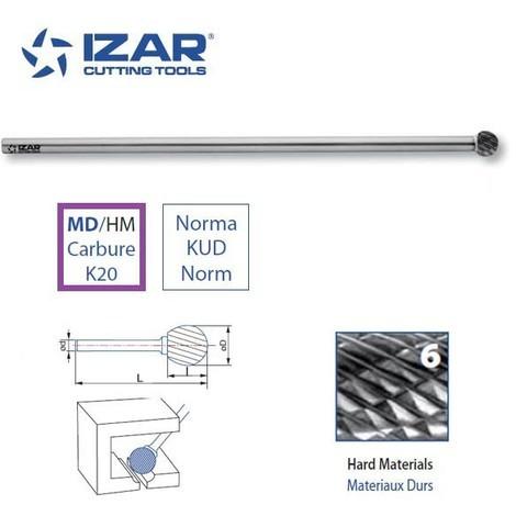 fraise rotative carbure longue Izar spherique KUD denture 6 de 8 à 12.7 mm