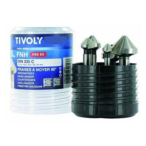 """main image of """"Fraises à noyer X5 HSS Cobalt 5% TIVOLY DIN 335C à 90° 10,4 à 31 mm Coffret de 5 pièces"""""""