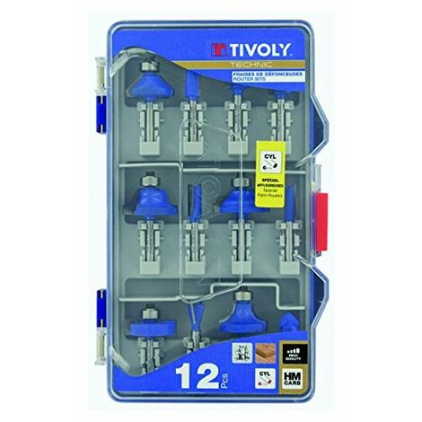 Fraises de défonceuses de formes X12 TIVOLY assorties Queue 6mm Coffret 12