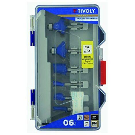 Fraises de défonceuses X 6 TIVOLY Formes assorties Queue 6mm Coffret 6 pièces