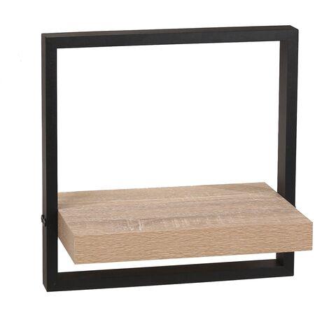 framed floating shelf kit - oak effect shelf with black frame