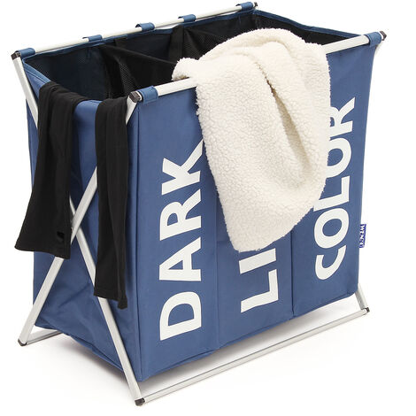 Framed Laundry Basket Trolley With 3 Laundry Bags Garment Storage Mohoo