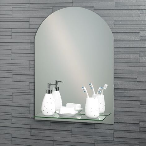 Frameless Arched Greenwich Bathroom Mirror with In-Built Vanity Shelf 70x50cm