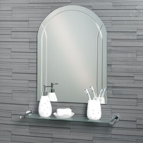 Frameless Diamond Cut Arch Soho Bathroom Mirror 60x45cm