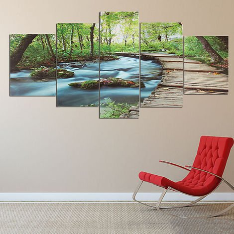 Frameless Fashion New 5 Pcs Modern Art Painting Oil Print Landscape Wall Picture Home Room Decor