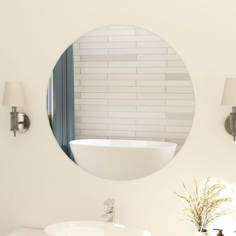 Frameless Mirror Round 80 cm Glass - Silver