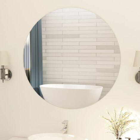 Frameless Mirror Round 90 cm Glass - Silver