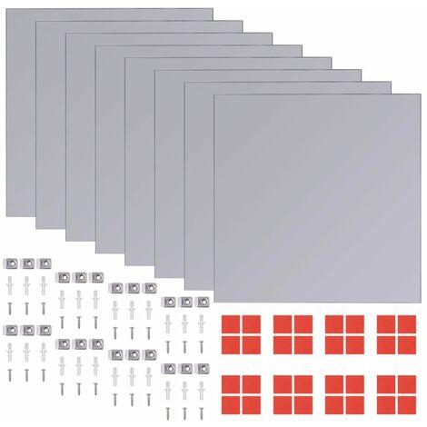Frameless Mirror Tiles Glass 8 pcs 20.5 cm