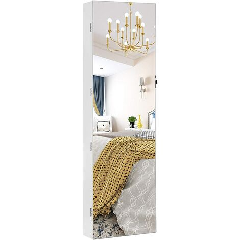 Frameless Mirrored Jewellery Cabinet Armoire, 6 LEDs Jewellery Organiser Wall Hanging or Door Mounted, Large Capacity with 2 Drawers, White JJC99WT