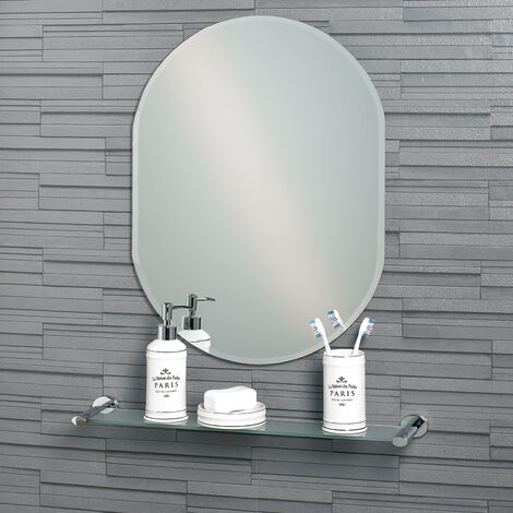 Frameless Oval Bevelled Edge Lincoln Small Bathroom Mirror