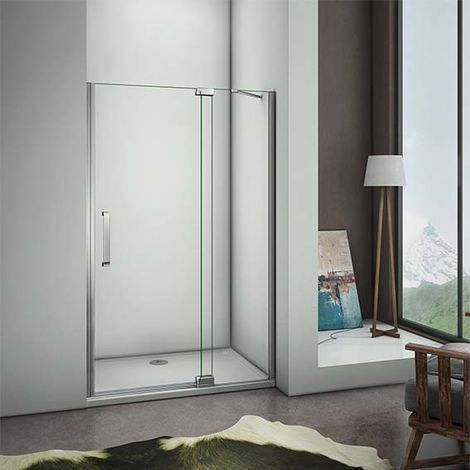 Frameless Pivot Door Walk in Shower Enclosure 8mm Glass Screen Cubicle Tray Optional