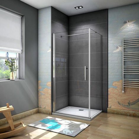 Frameless Pivot Shower Door Enclosure 5mm Glass Screen with Side Panel,Shower Tray Optional