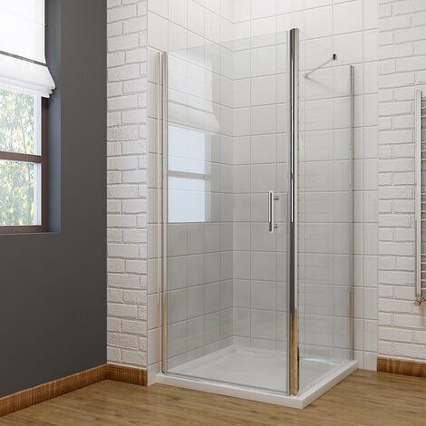 Frameless Pivot Shower Enclosure 6mm Safety Glass 700 x 900mm Reversible Shower Cubicle + Side Panel