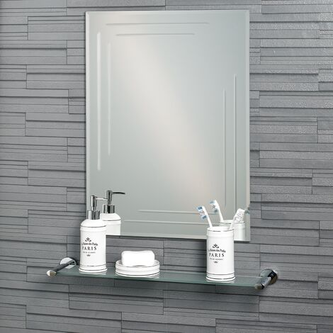 Frameless Rectangular Diamond Cut Chelsea Bathroom Mirror 60x45cm