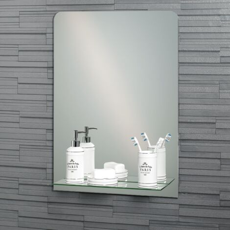 Frameless Rectangular Rochester Bathroom Mirror with In-Built Vanity Shelf 70x50cm