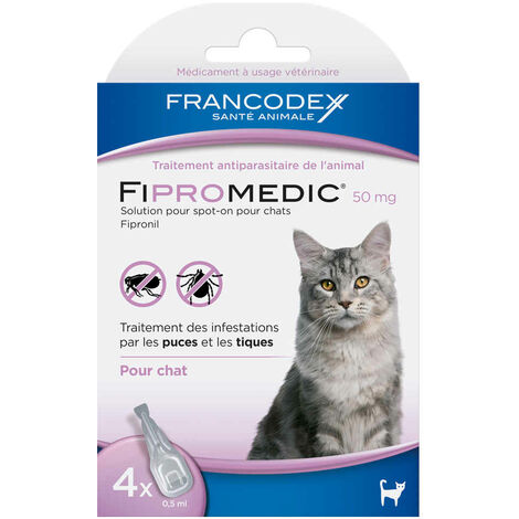 """main image of """"Francodex - Traitement Antiparasitaire Spot-On 50mg Fipromedic pour Chat - 4x0,5ml"""""""