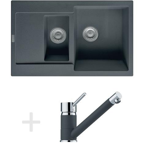 Franke Kit de cuisine G73, Évier en granit MRG 651-78, graphite + Mitigeur FG 7477, graphite (114.0365.293)