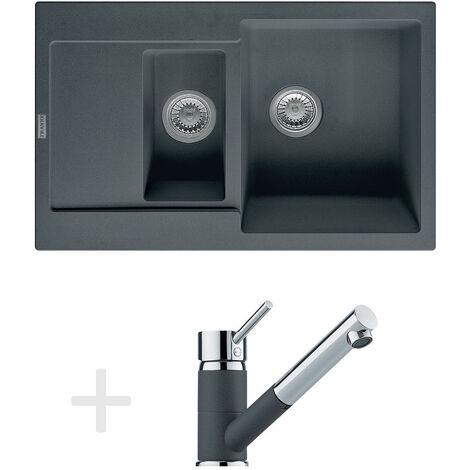 Franke Kit de cuisine G74, Évier en granit MRG 651-78, graphite + Mitigeur FG 7486, graphite (114.0365.339)
