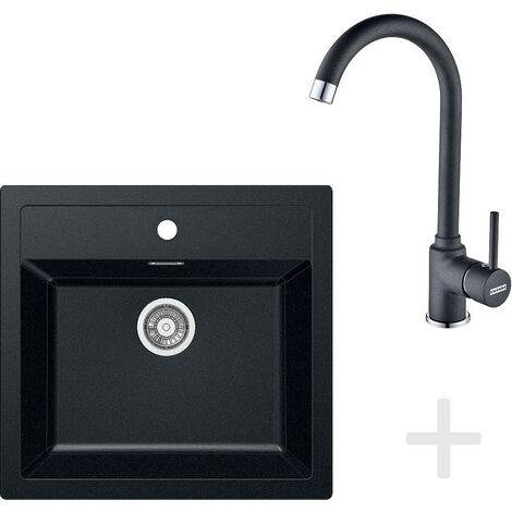 Franke Kit de cuisine T25, Évier tectonite SID 610, noir + Mitigeur FP 9900, noir (114.0366.029)