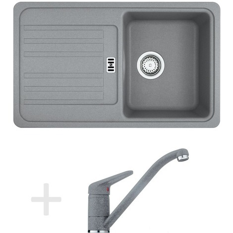 Franke Kitchen set G19, Granite sink EFG 614-78, gray stone + Mixer tap FG 9541.084, gray stone (114.0120.400)