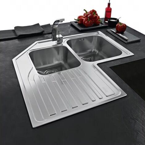 Franke Studio Stx Corner Kitchen Sink Stx 621-e Lh Inset Stainless Steel