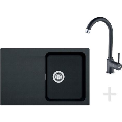 Franke T30 Kitchen Kit, OID 611-78 Tectonite Sink, Black + FP 9900 Taps, Black (114.0366.039)