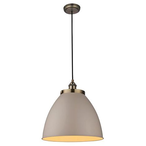 Frankin 1Lt Ceiling Pendant Light 40W Taupe Glass Shade And Steel Plate