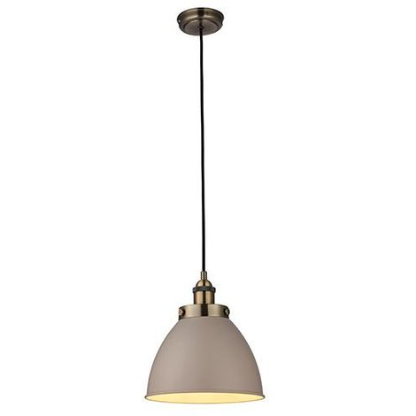 Frankin 1Lt Ceiling Pendant Light 40W Taupe Glass Shade & Antique Brass Finish