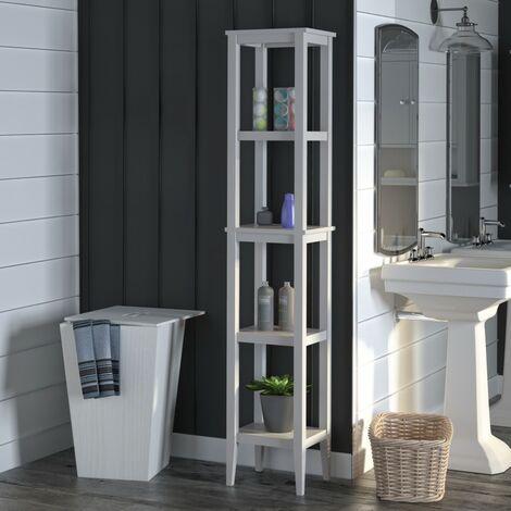 Franklin Bathroom Tall 4 Shelf Sideboard Storage Cabinet Unit Tower Grey