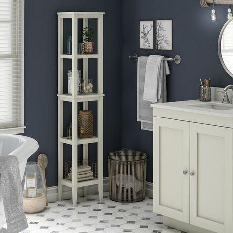 Franklin Bathroom Tall 4 Shelf Sideboard Storage Cabinet Unit Tower White