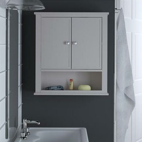 Franklin Bathroom Wall Cabinet With 2 Doors And Open Shelf Grey