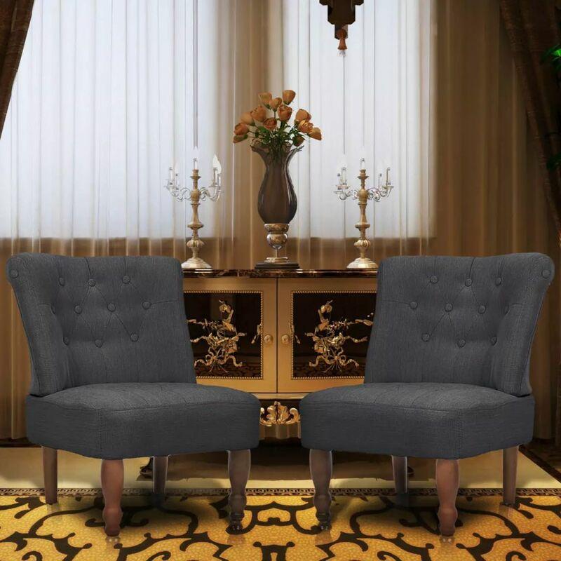 Französische Sessel 2 Stk. Grau Stoff - ZQYRLAR