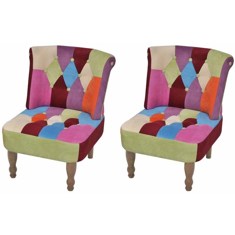 Französischer Sessel 2 Stk. Patchwork-Design Stoff - ZQYRLAR