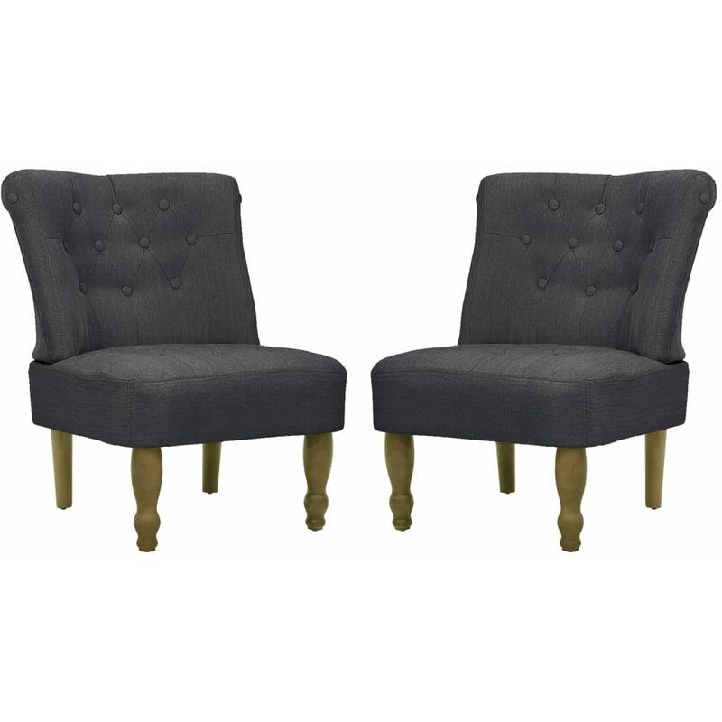 Französischer Sessel Stoff Grau 2 Stk. - VIDAXL