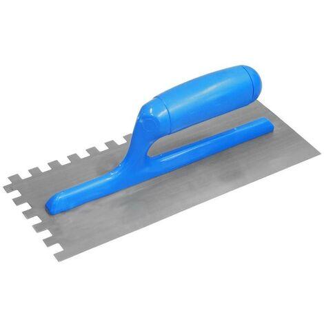 Frattazzo in Acciaio Tipo Usa Dentato 7x7 mm Blu 12x28 Cm