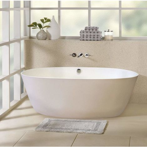 Free Standing Bathtub in Acrylic with Fibreglass and Stainless Steel Reinforcements and Elegant Design ECLIPSE