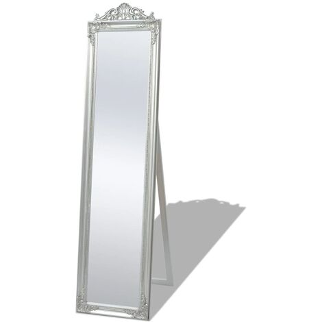 Free-Standing Mirror Baroque Style 160x40 cm Silver