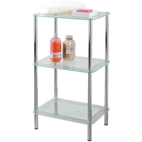 Free Standing Showerdrape 3-Tier Rectangular Glass Bathroom Shelf