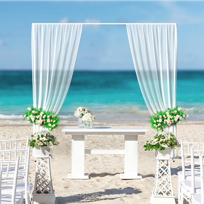 Image of Free Standing Wedding Arch Frame White Background Flower Stand Adjustable to 1 2 3m