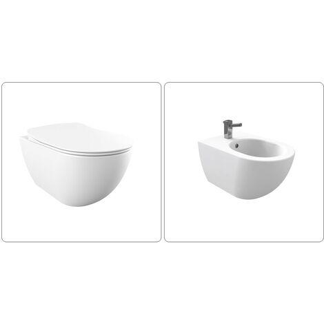 FREE Wand WC spülrandlos inkl. SoftClose Sitz und Wand Bidet