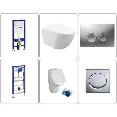 Free Wand WC spülrandlos mit Urinal Geberit Set, verschiedene Variationen